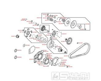 E05 Variátor a zadní řemenice - Kymco MXU 500 IRS DX LAA0DD