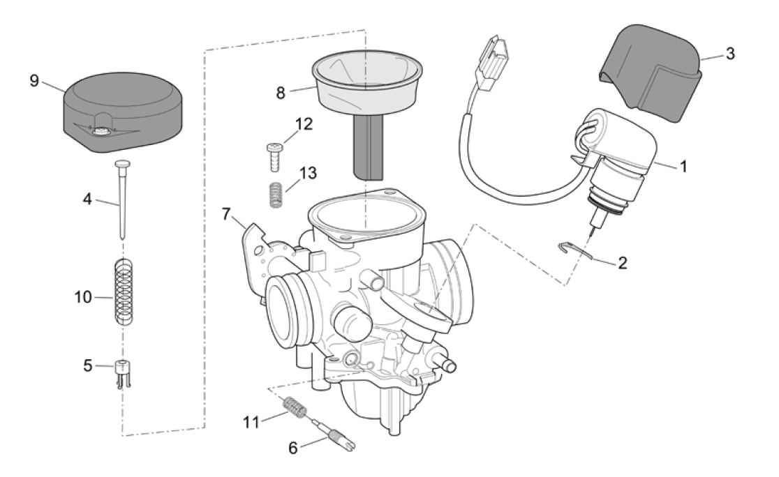 29.20 Karburátor - Scarabeo 50 4T 2V E2 2006-2009 (ZD4TGA, ZD4TGB)