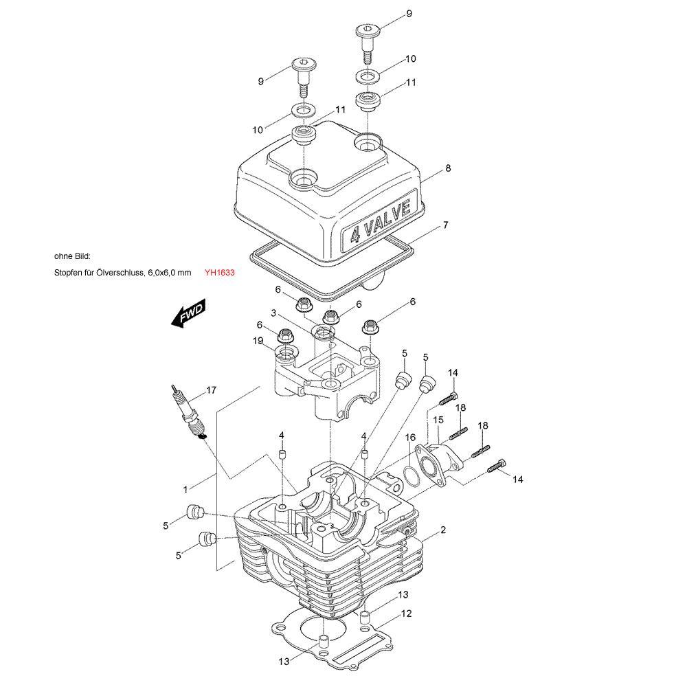 01 Hlava válce / Víko ventilů - Hyosung RX 125 (XRX 125)