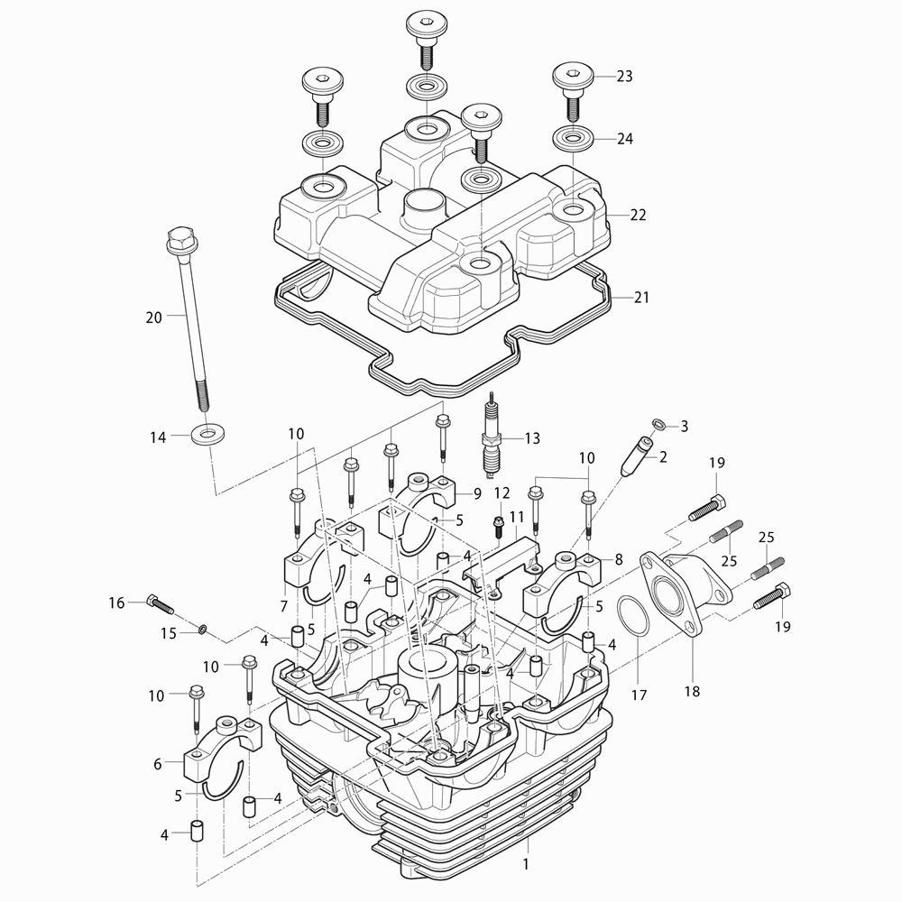 01 Hlava válce / Víko ventilů - Hyosung RX 125 SM E3 (XRX 125 SM)