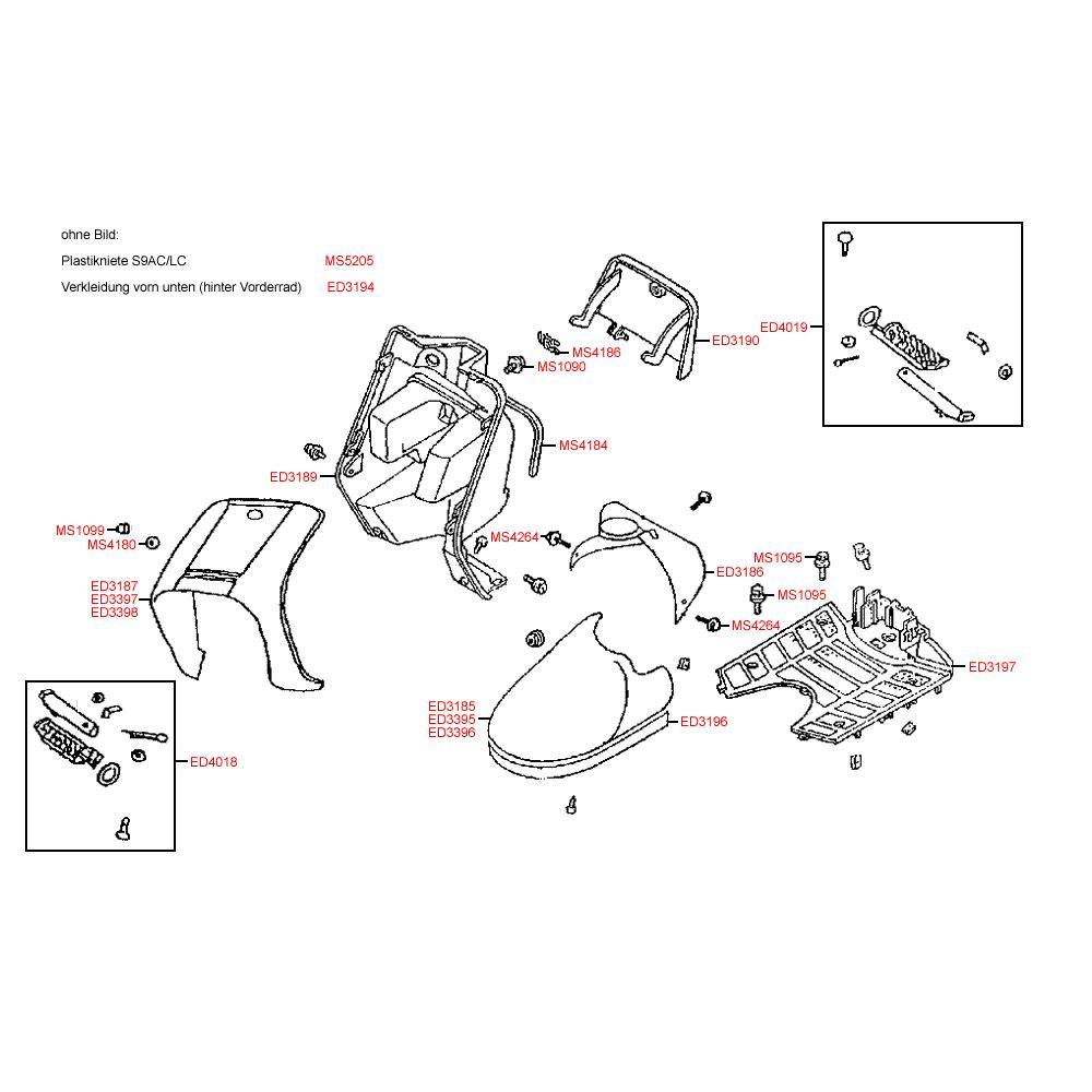F05 Přední kapotáž / podlaha - Kymco DJ 50