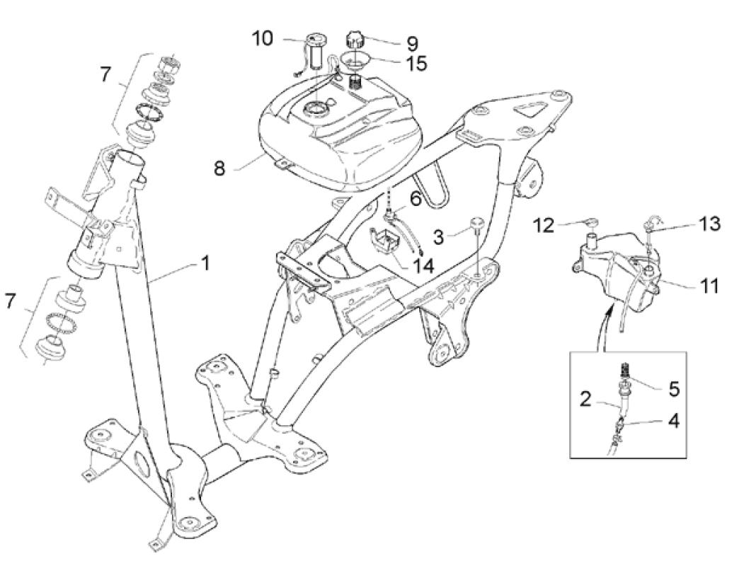 28.01 Rám, palivová nádrž - Scarabeo 50 2T (motor Minarelli) 1993-1997 - 072, 081, 081P1, 092, 094