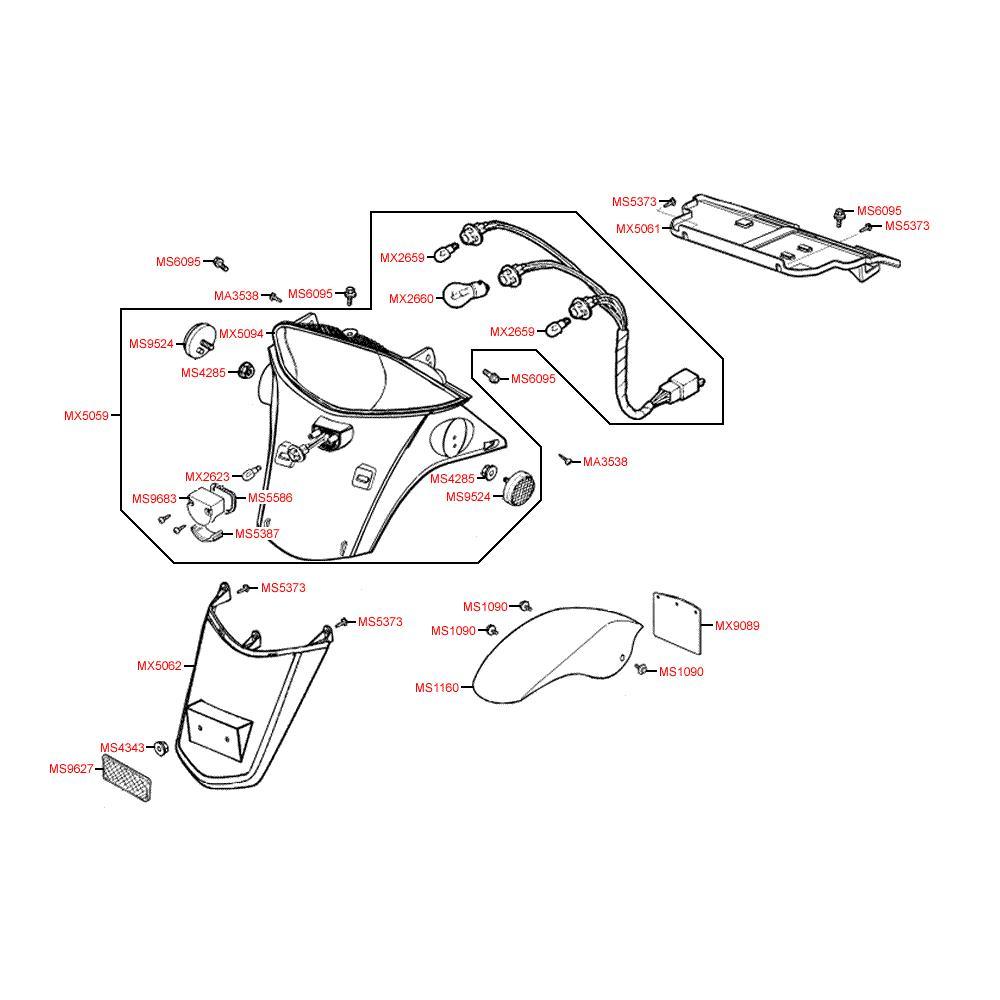 F19 Zadní světlo / blatník - Kymco Dink 50 SH10C