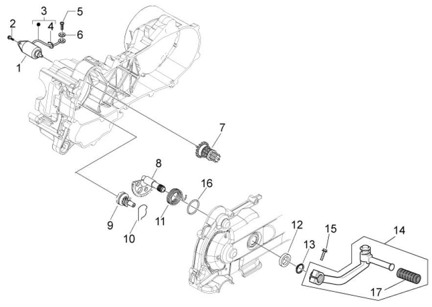 29.29 Startér motoru - Scarabeo 50 4T 4V E2 2010-2012 (ZD4TGE00)