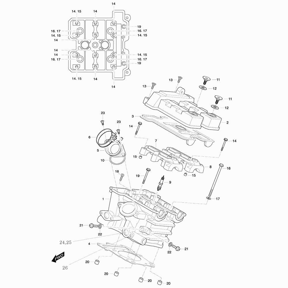 01h Hlava válce zadní - Hyosung GT 650 R TTC