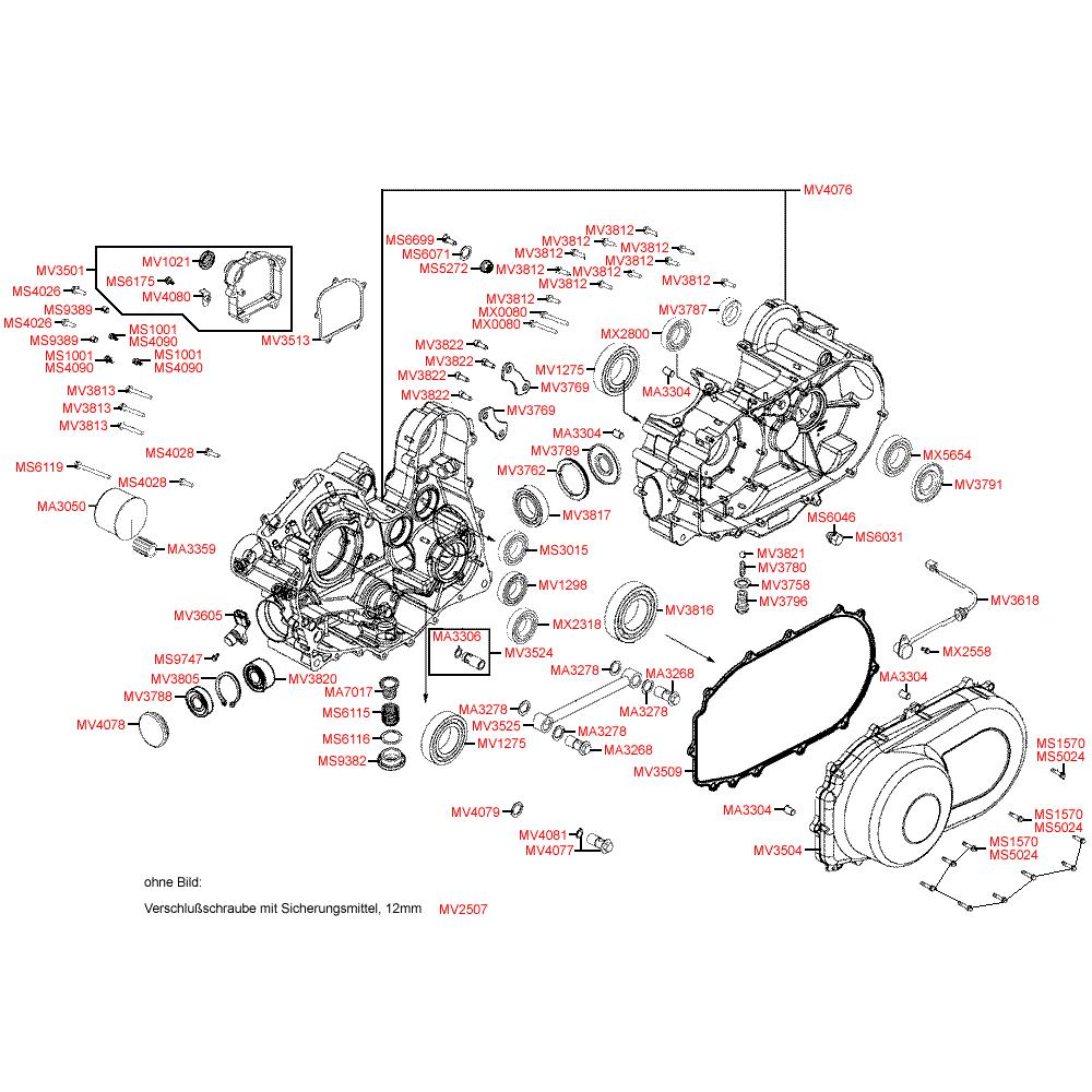 E01 Kliková skříň / Kryt variátoru - Kymco MXU 500 2WD