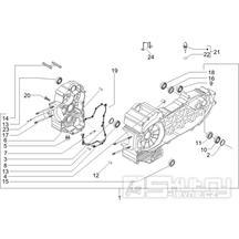 1.05 Skříň klikové hřídele -  Gilera Fuoco 500ccm E3 2007-2013 (ZAPM61100...)