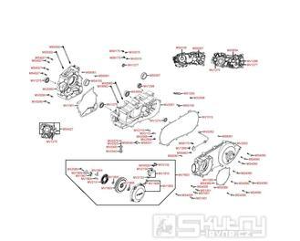 E01 Kliková hřídel a kryt variátor - Kymco MXU 300 Wide