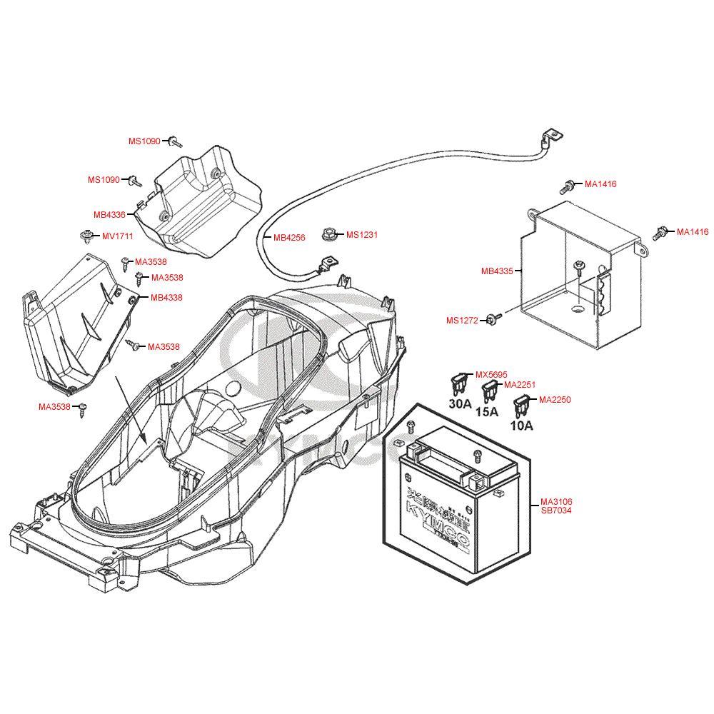 F11 Baterie a úložný prostor baterie - Kymco - MyRoad 700i ABS SAADAB