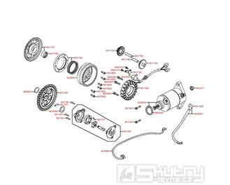 Alternátor, startér a olejové čerpadlo - Kymco MXU 450i LC90AE