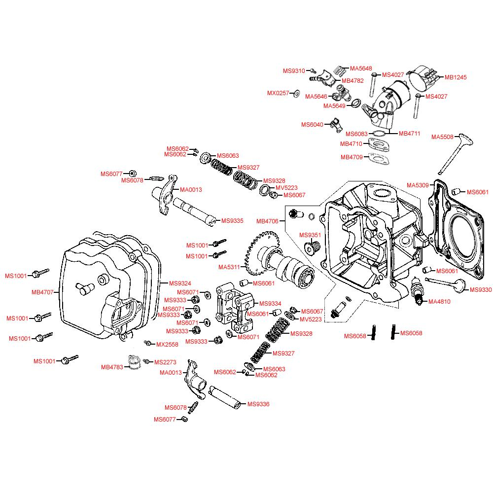 E02 Hlava válce a ventilové víko - Kymco Grand Dink 125i SP25AA