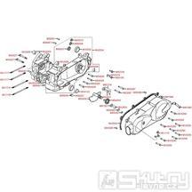 E01 Skříň klikové hřídele a kryt variátoru - Kymco Like 125 KN25AA