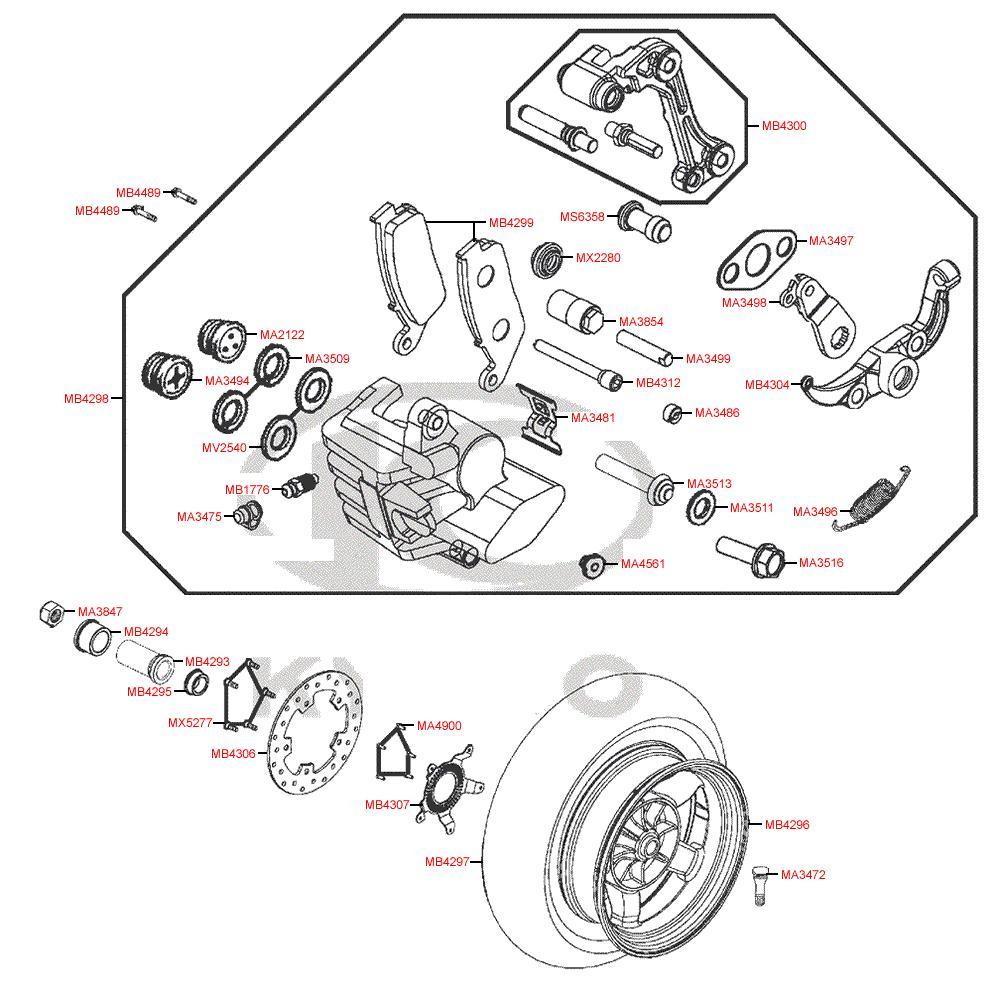 F08 Zadní kolo, brzdový třmen a kotouč - Kymco MyRoad 700i ABS SAADAB