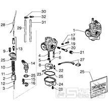 T12 Karburátor (jednotlivé díly) - Gilera Zulu 50 EBS do roku 2005 (VTBC33300...)