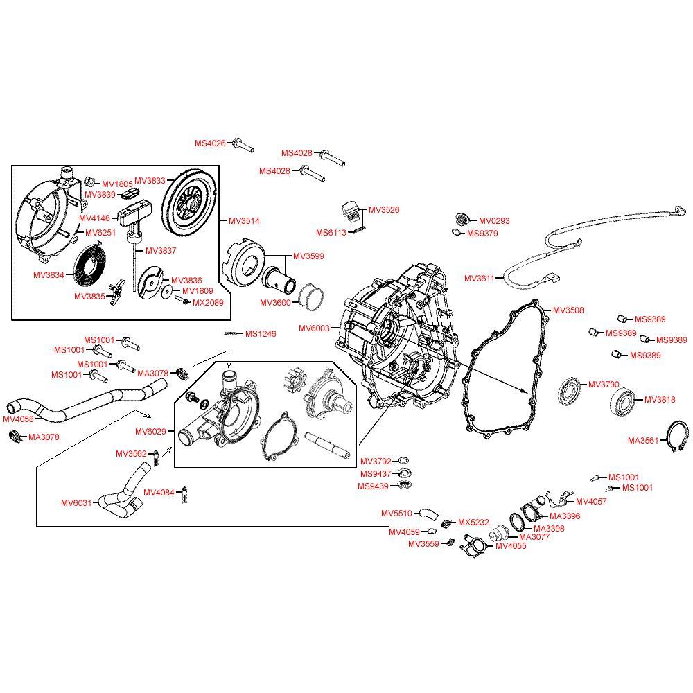 E04 Kryt motoru pravý a vodní pumpa - Kymco MXU 500 IRS DX LAA0DD