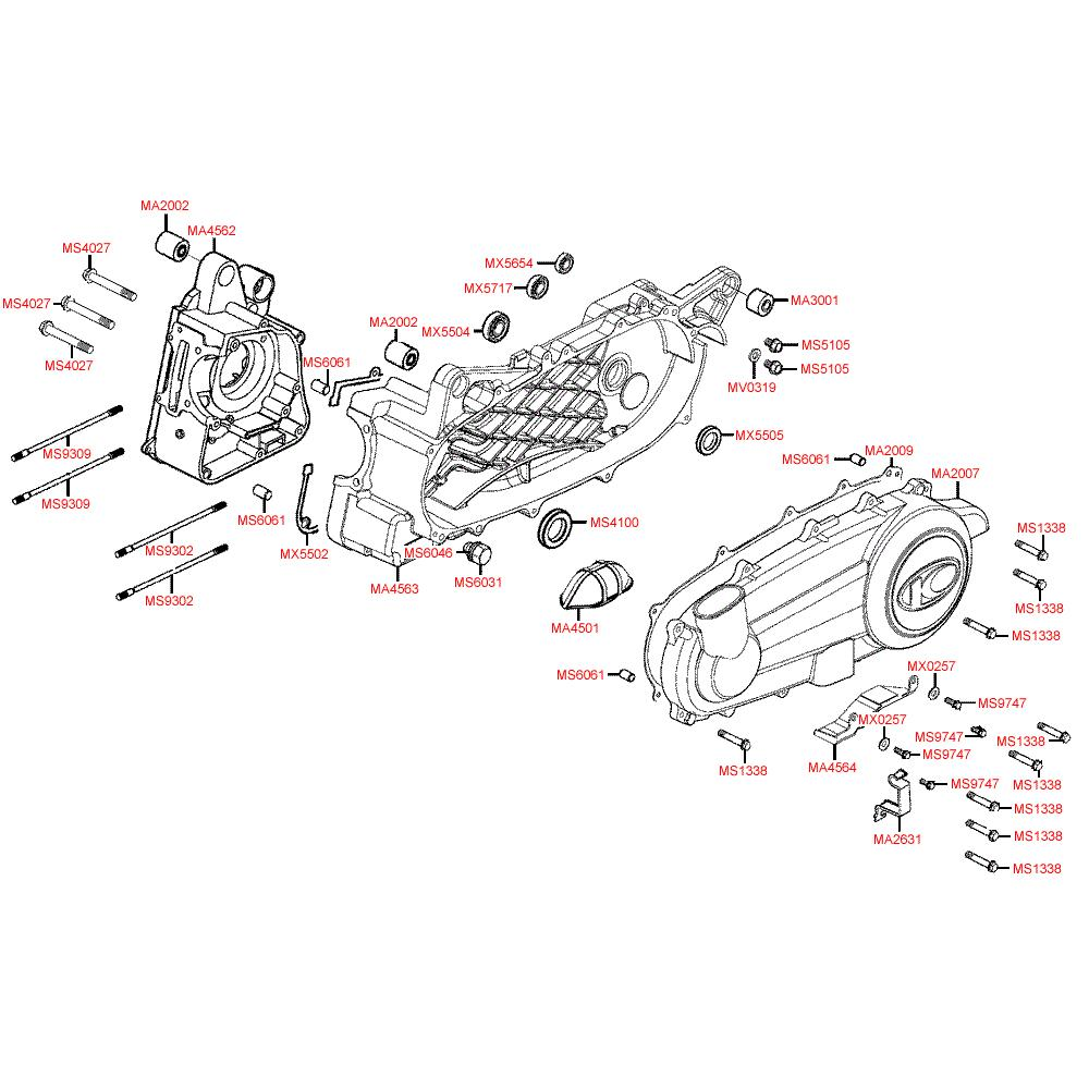 E01 Kliková skříň - Kymco Xciting 250 karburátor [SA50AA]