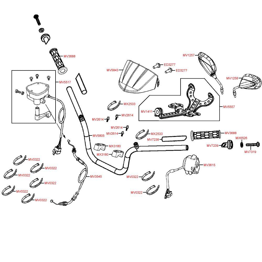 F03 Řidítka, zrcátka a lanka - Kymco MXU 500 IRS DX LOF LAA0ED