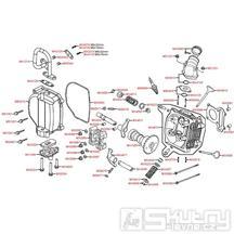 E02 Hlava válce / ventily - Kymco Yager 50 GT