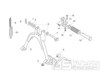 28.02 Hlavní stojan, stupačky spolujezdce - Scarabeo 50 2T (motor Minarelli) 1998 - ZD4PF00/1/2/3, ZD4PFA/B/C/D/E