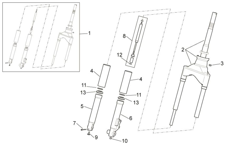 28.03 Přední vidlice - Scarabeo 100 4T E3 2014 (ZD4VAB00)