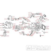 E02 Hlava válce / Ventily - Kymco Xciting 250 karburátor [SA50AA]