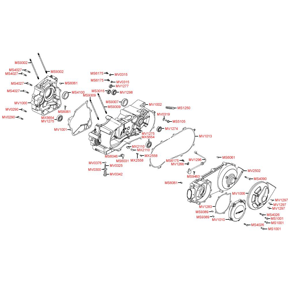 E01 Kliková skříň / Kryt variátoru - Kymco KXR 250 Sport