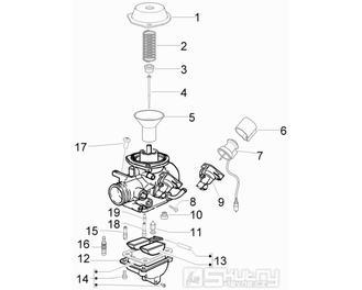 29.19 Karburátor (jednotlivé části) - Scarabeo 50 4T 4V E2 2009 (ZD4TGE00)
