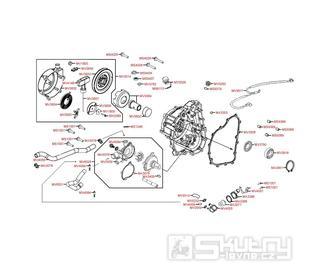 E04 Pravý kryt a vodní čerpadlo - Kymco MXU 500 IRS DX LOF LAA0ED