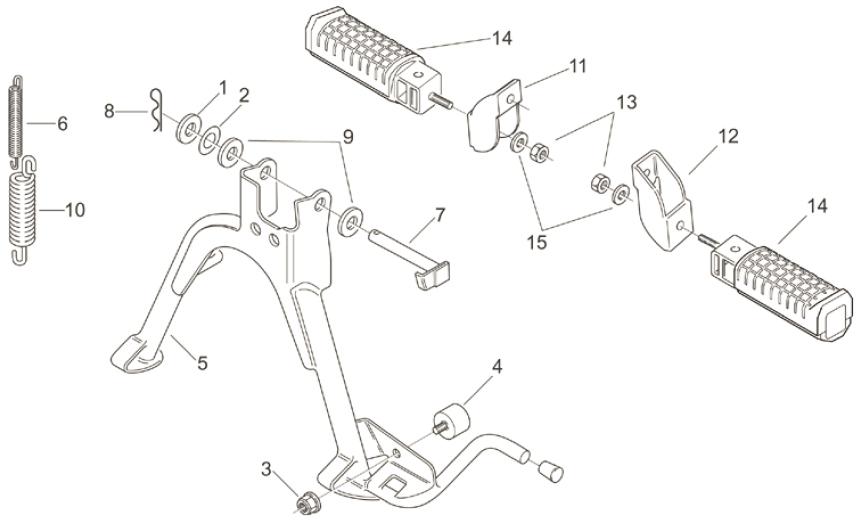 28.02 Stupačky, hlavní stojan - Scarabeo 100 2T (motor Yamaha) 2000 - ZD4RE0...