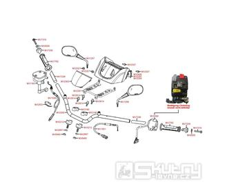 F03 Řidítka, zrcátka a ovládání - Kymco MXU 250 R LG50AE/AD