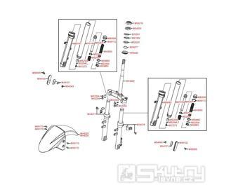 F05 Přední tlumiče / Přední blatník - Kymco Agility 50 Basic 4T KD10SH
