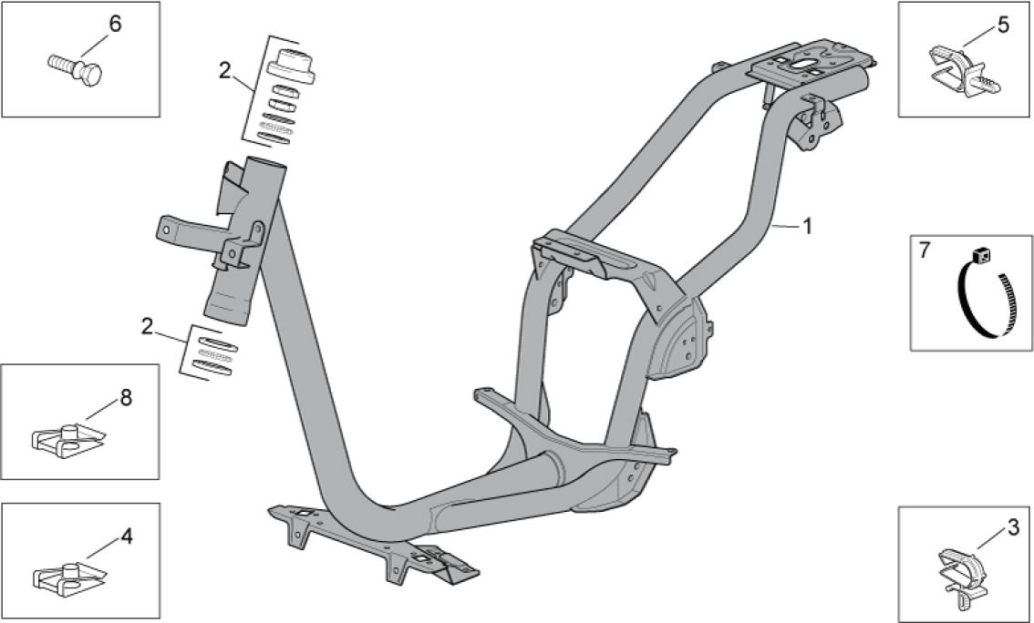 28.01 Rám - Scarabeo 50 4T 4V E2 2010-2012 (ZD4TGE00)