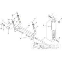 28.04 Zadní tlumič, uložení motoru - Scarabeo 100 2T (motor Yamaha) 2000 - ZD4RE0...