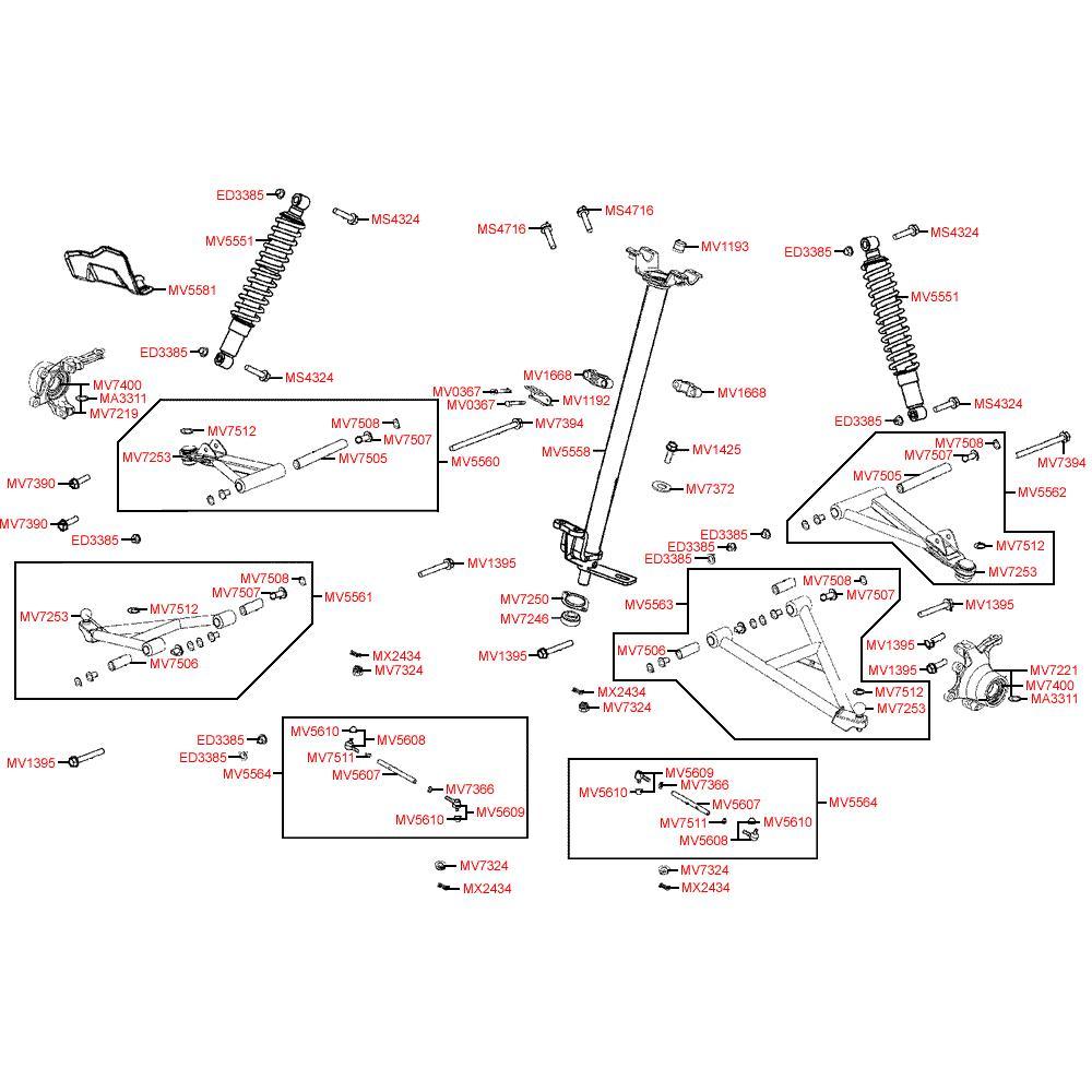 F06 Řízení a přední odpružení - Kymco MXU 500 IRS DX LOF LAA0ED