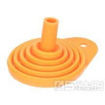Skládací silikonový trychtýř v oranžovém provedení