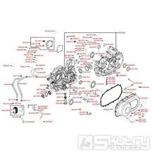 E01 Skříň klikové hřídele a kryt variátoru - Kymco UXV 500