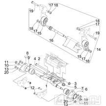 4.01 Uložení motoru - Gilera GP 800 2009 (edice 100. výročí - ZAPM5510...)