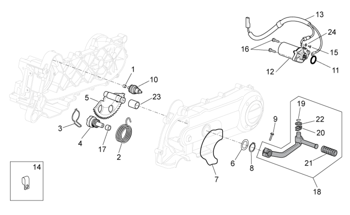 29.30 Startér motoru - Scarabeo 100 4T E3 2010-2012 (ZD4VAA00..., ZD4VAC00...)