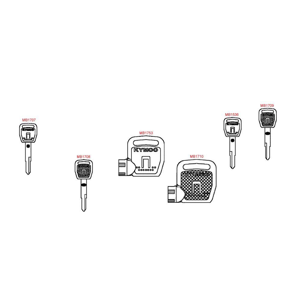 F24 Polotovary klíčů a tužka pro opravu laku - Kymco Downtown 300i ABS Verze 30 SK60AF