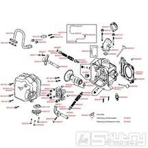 E02 Hlava válce, ventily a ventilové víko - Kymco Yager/Spacer 125 [12 kola] SH25BB