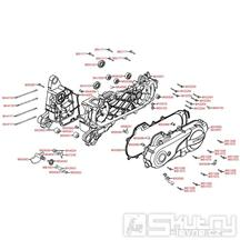E01 Skříň klikové hřídele / Kryt variátoru - Kymco Agility 50 4T KG10SA