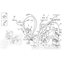28.31 Elektroinstalace, baterie, pojistky, blinkry - Scarabeo 50 2T (motor Minarelli) 1998 - ZD4PF00/1/2/3, ZD4PFA/B/C/D/E