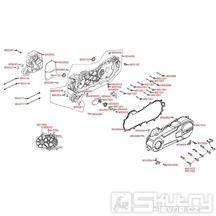 E01 Kliková skříň kompletní / kryt variátoru - Kymco Super 8 50 4-Takt