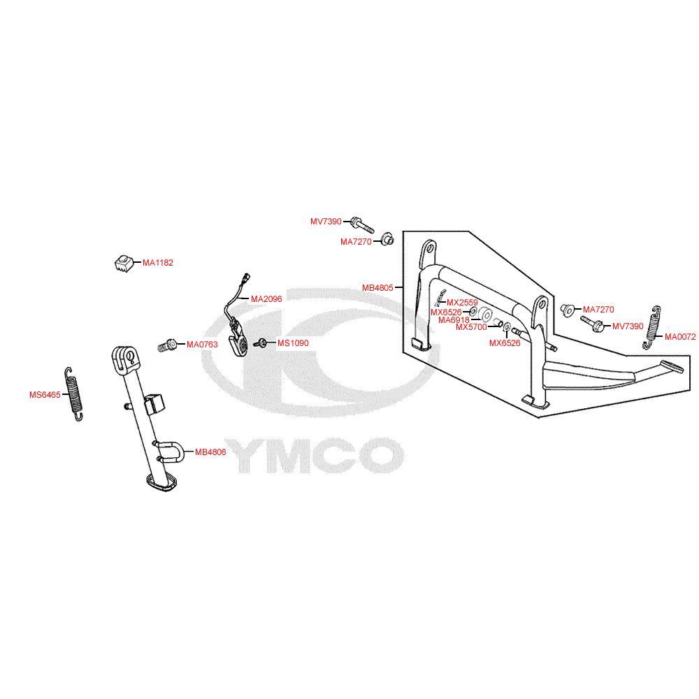 F15 Hlavní stojan, boční stojan a spínač bočního stojanu - Kymco Grand Dink 125i SP25AA