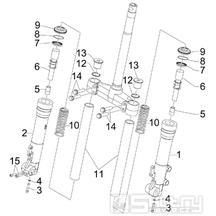 """4.03 Přední kyvná vidlice (Kayaba) - Gilera Runner 125 """"SC"""" VX 4T 2006-2007 (ZAPM46100)"""