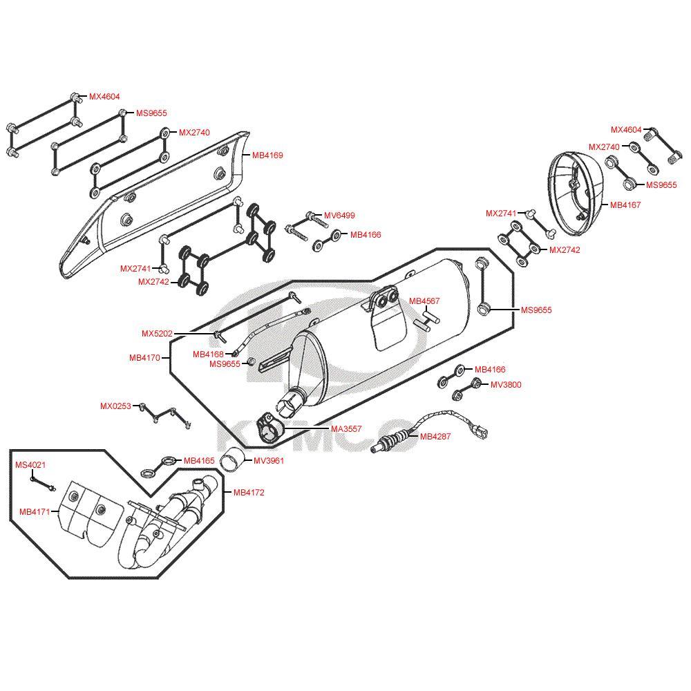 F14 Výfuk a Lambdasonda - Kymco MyRoad 700i ABS SAADAB