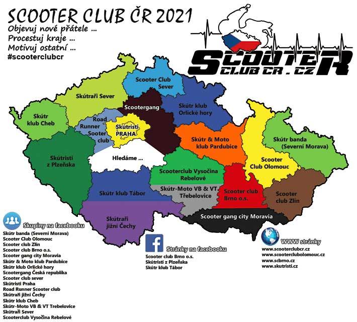 Aktualizovaná mapa scooter clubů ČR